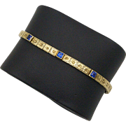 Art Deco 14kt Gold and Blue Paste Bracelet