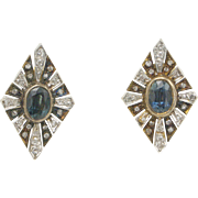 Victorian 10kt Gold, Blue Sapphire and Diamond Earrings