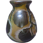 Legras Cameo Art Glass Vase with Leaf Motif