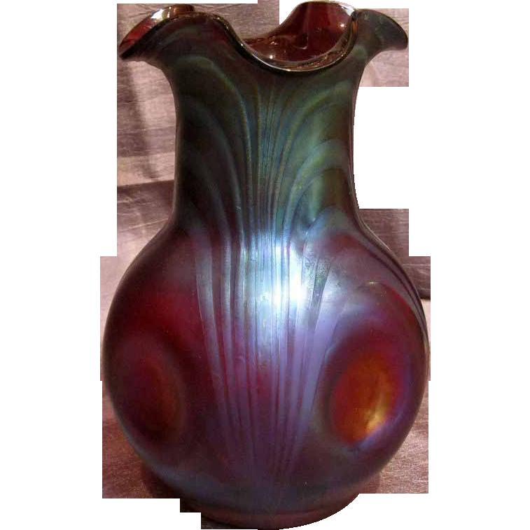 Kralik Ruby Red Iridescent Art Glass Vase with Ruffled Rim ... Ruffled Art Glass Vase With Silver Handle