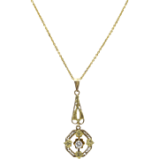 Edwardian 14kt Yellow and Green Gold, Diamond Lavaliere Necklace