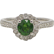 14kt White Gold, Tsavorite Garent, and Diamond Ring