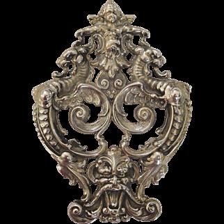 William Kerr Sterling Silver Cherub, Mask and Dragon Brooch
