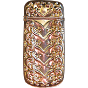 Scrolling Chevron Gold Plated Brass Match Safe or Vesta, circa 1880