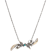 Victorian 14kt Gold, Paste, and Turquoise Swallow Necklace