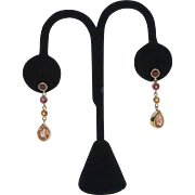 Vintage Sunstone, Ruby and Tourmaline Earrings