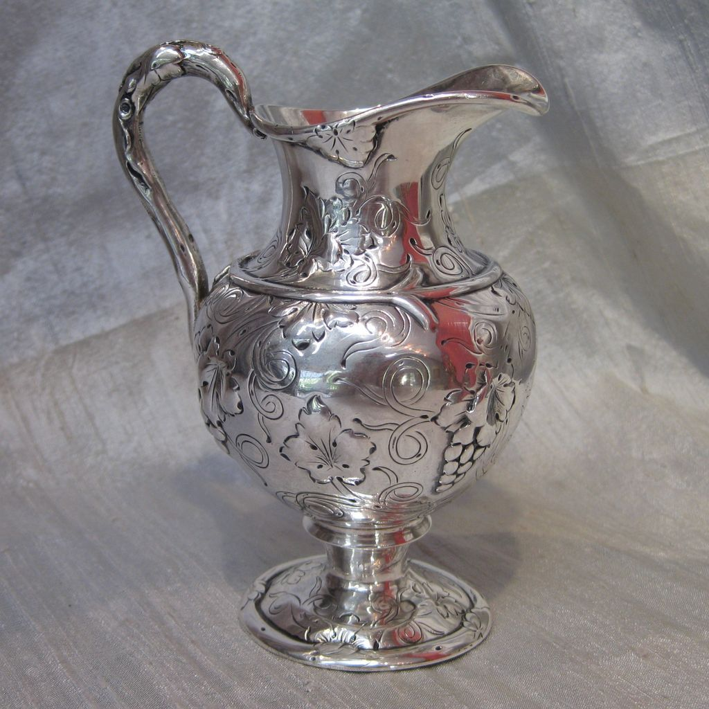 Peter Krider Coin Silver Vine & Grape Creamer