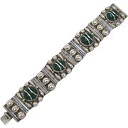 Taxco Sterling Silver and Green Onyx Segmented Bracelet
