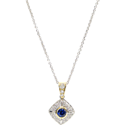 Natural Blue Sapphire with Pavé Diamonds, 14K Gold Pendent on 14K White Gold Chain
