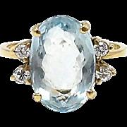 Vintage 18kt Gold, Aquamarine and Diamond Ring