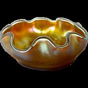 L.C.Tiffany Favrile Scallop or Ruffled Edge Art Glass Salt Cellar