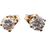 14 K Yellow Gold  0.73 Carat Diamond Stud Earrings