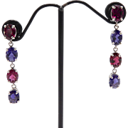 Vintage 14kt White Gold, Rhodolite Garnet and Tanzanite Earrings