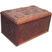 Intricately Carved Wood Cigarette Box, circa 1890s