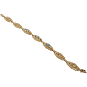 Vintage Zircon and 14K Gold Bracelet