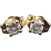 14 K Yellow Gold 0.25 Carat Diamond Stud Earrings