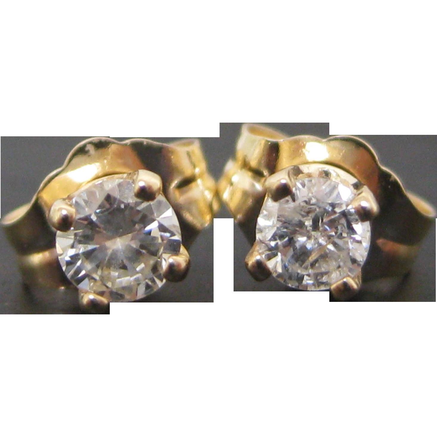 14 K Yellow Gold 0 25 Carat Diamond Stud Earrings From