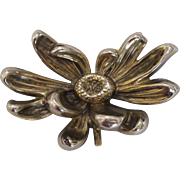 Sterling Silver William Kerr High Relief Flower Brooch