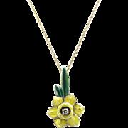 Art Nouveau 14kt Gold, Enamel, and Diamond Jonquil Pendant Necklace