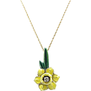 Art Nouveau 14kt Gold, Enamel, and Diamond Jonquil Pendant Necklace