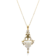 Edwardian 14kt Gold, Opal and Pearl Lavalier Necklace