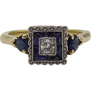 Edwardian-era, 18KT Gold, Blue Sapphire and Diamond Ring