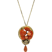 Victorian era 14KT Gold & Natural Coral Pendant with Chain