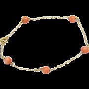 Vintage 14KT Gold & Natural Coral Bracelet