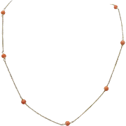 Vintage 14KT Gold & Coral Necklace