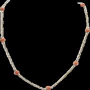 Vintage 14KT Gold & Coral Necklace