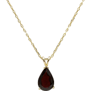 Vintage 14KT Gold & Garnet Pendant with 14KT Gold Chain