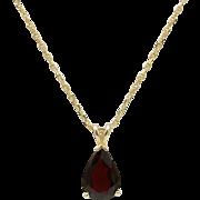 Vintage 14KT Gold & Garnet Pendant with 14KT Gold Chain