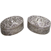 Matched Pair of Hanau Oval Silver (800) Boxes Depicting a King circa 1890s