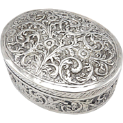 19th Century Handmade Oval Sterling Silver Box