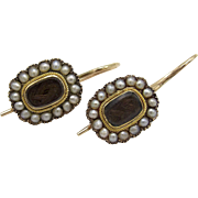 12KT Gold, Pearl & Hair Victorian Era Mourning Earrings