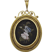 18K Gold Pietra Dura Locket
