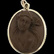 19th Century Italian Lava Rock Cameo Hermes Pendant