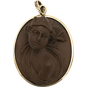 Grand Tour Italian Lava Cameo Hermes Pendant with 14K Gold