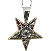 Mid-Century 14K Gold, Diamond and 4 Gemstone Eastern Star Pendant