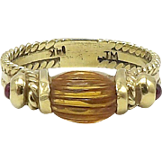 14Kt Gold, Topaz, and Ruby Ring, circa 1980s