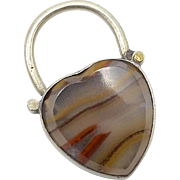 Sterling Silver and Agate Heart Pendant