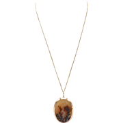 Victorian 14kt Rose Gold Dendritic Agate Pendant Necklace