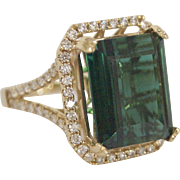 14kt Gold, 9 Carat Blue Green Tourmaline, and Diamond Ring