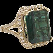 14kt Gold, 9 Carat Blue Green Tourmaline, and Diamond Ring