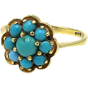 Vintage 18kt Gold Etruscan Revival Turquoise Cabochon Ring