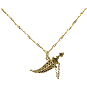 Vintage 21K Gold Oriental Dagger & Twisted Necklace