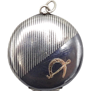 Sterling Silver and 14kt Rose Gold Niello Locket