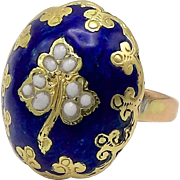 Victorian 15kt Gold and Enamel Ring