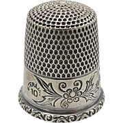 Antique Sterling Silver Thimble with Flowers
