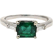 14kt White Gold, Emerald, and Diamond Ring